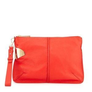 Halston Heritage Large Leather Wristlet Clutch Bag